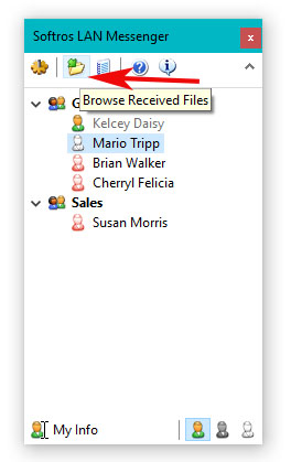 Browse received files