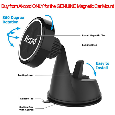 Akcord Magnetic car mount for note 7