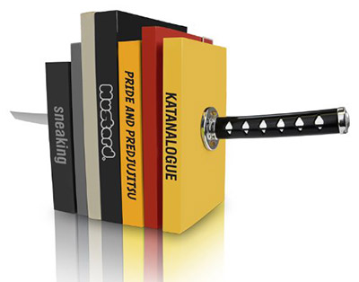 Mustard Katana Bookends for writers